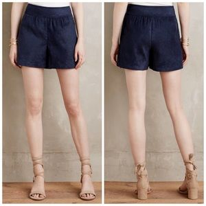 NWT Anthropologie Elevenses Faux Suede Navy Shorts